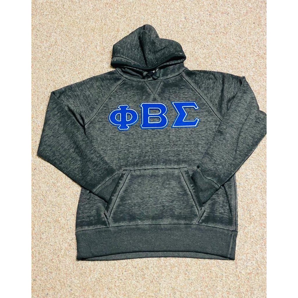 Black acid wash Phi Beta Sigma Chenille Hoodie