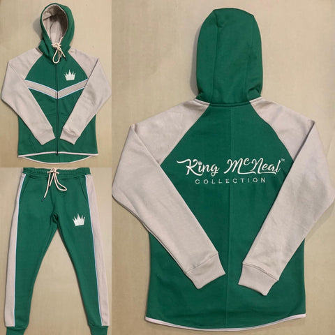 King McNeal collection sweatsuit green and tan