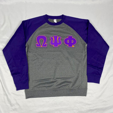 Omega Purple Sleeve Chenille Crewneck
