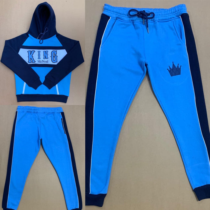 King McNeal collection sweatsuit navy and carolina blue