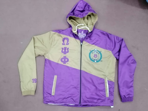 Omega Psi Phi Striped Windbreaker Jacket