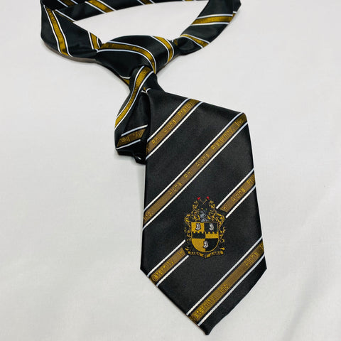 Black and Old Gold Alpha Monogram Tie