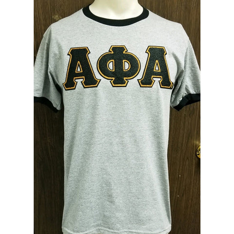 Chenille letter grey and black Alpha ringer t shirt