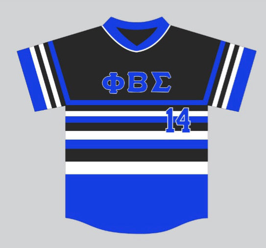 Black Phi Beta Sigma Stripped Baseball Jersey