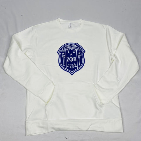 White Zeta Crest Pocket Crewneck