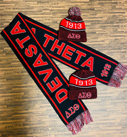 Delta Sigma Theta Black Scarf and One Hat Set