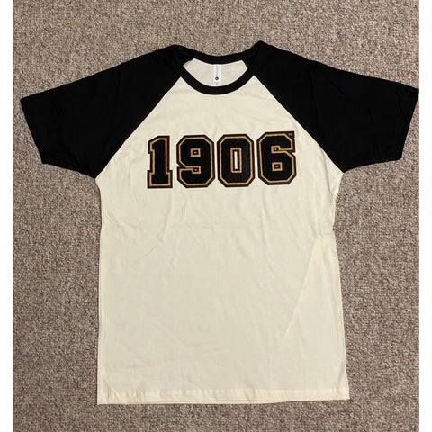 Chenille 1906 black and neutral raglan t-shirt