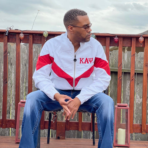 Kappa White Denim and Red Suede Jacket