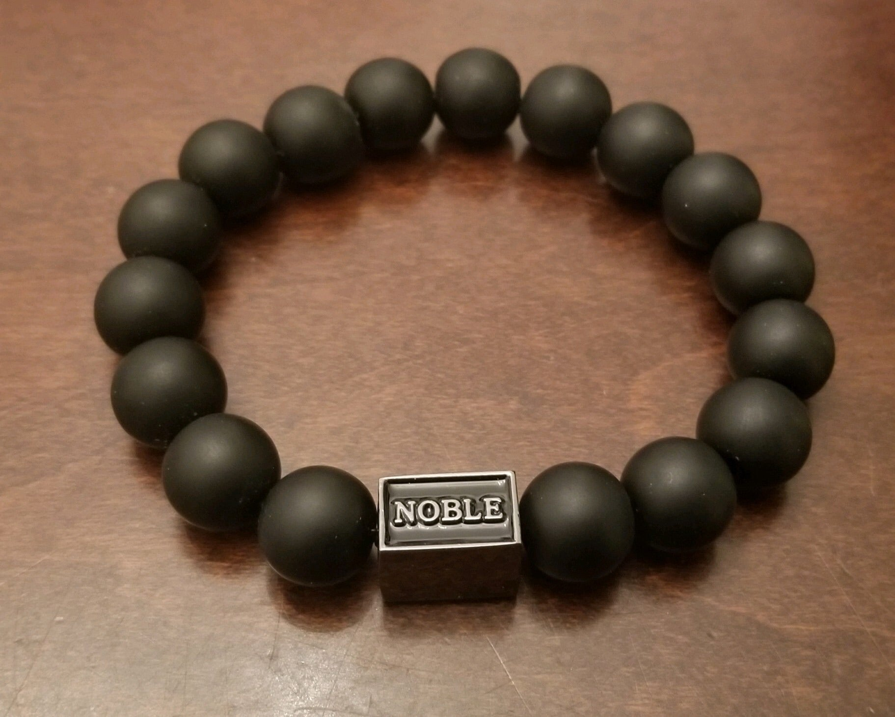 Noble matte black beaded bracelet