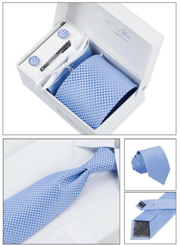 Gentlemans Swag Ties Corbatas Woven Necktie Cufflink Set - Blue