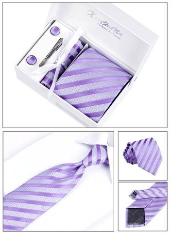 Gentlemans Swag Ties Corbatas Woven Necktie Cufflink Set - Purple
