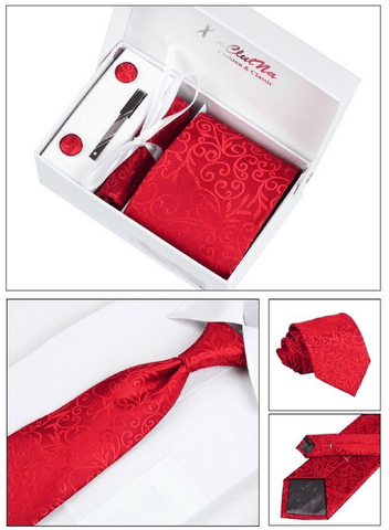 Gentlemans Swag Ties Corbatas Woven Necktie Cufflink Set - Red