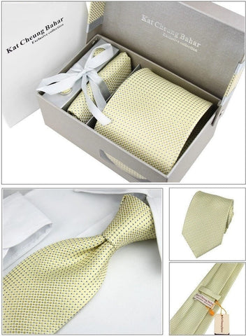 Gentlemans Swag Ties Corbatas Woven Necktie Cufflink Set - Yellow