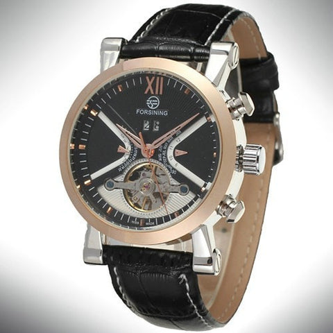 Gentlemans Swag Watches Default Title Forsining Tourbillon Mechanical Watch - Rose Gold/Black