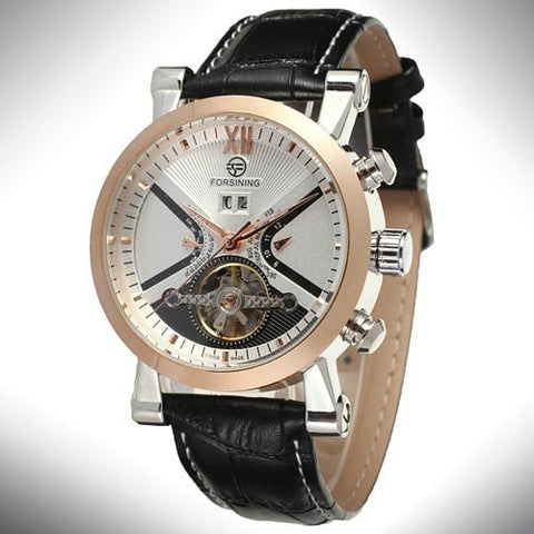 Gentlemans Swag Watches Default Title Forsining Tourbillon Mechanical Watch - Rose Gold/White/Black Strap