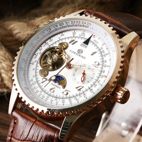 Gentlemans Swag Watches Forsining Leather Band Wristwatch