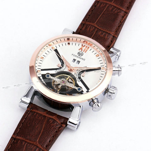 Gentlemans Swag Watches Forsining Tourbillon Mechanical Watch - Rose Gold/White