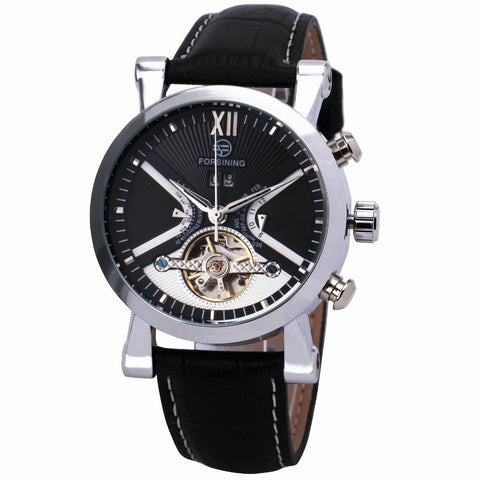 Gentlemans Swag Watches Forsining Tourbillon Mechanical Watch - Silver/Black