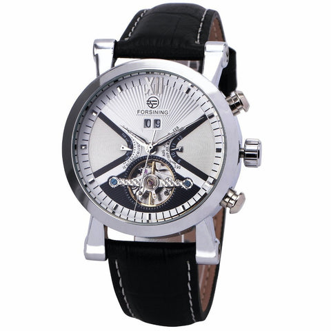 Gentlemans Swag Watches Forsining Tourbillon Mechanical Watch - Silver/White
