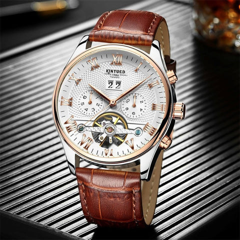 Gentlemans Swag Watches Kinyued Skeleton Tourbillon Mechanical Watch