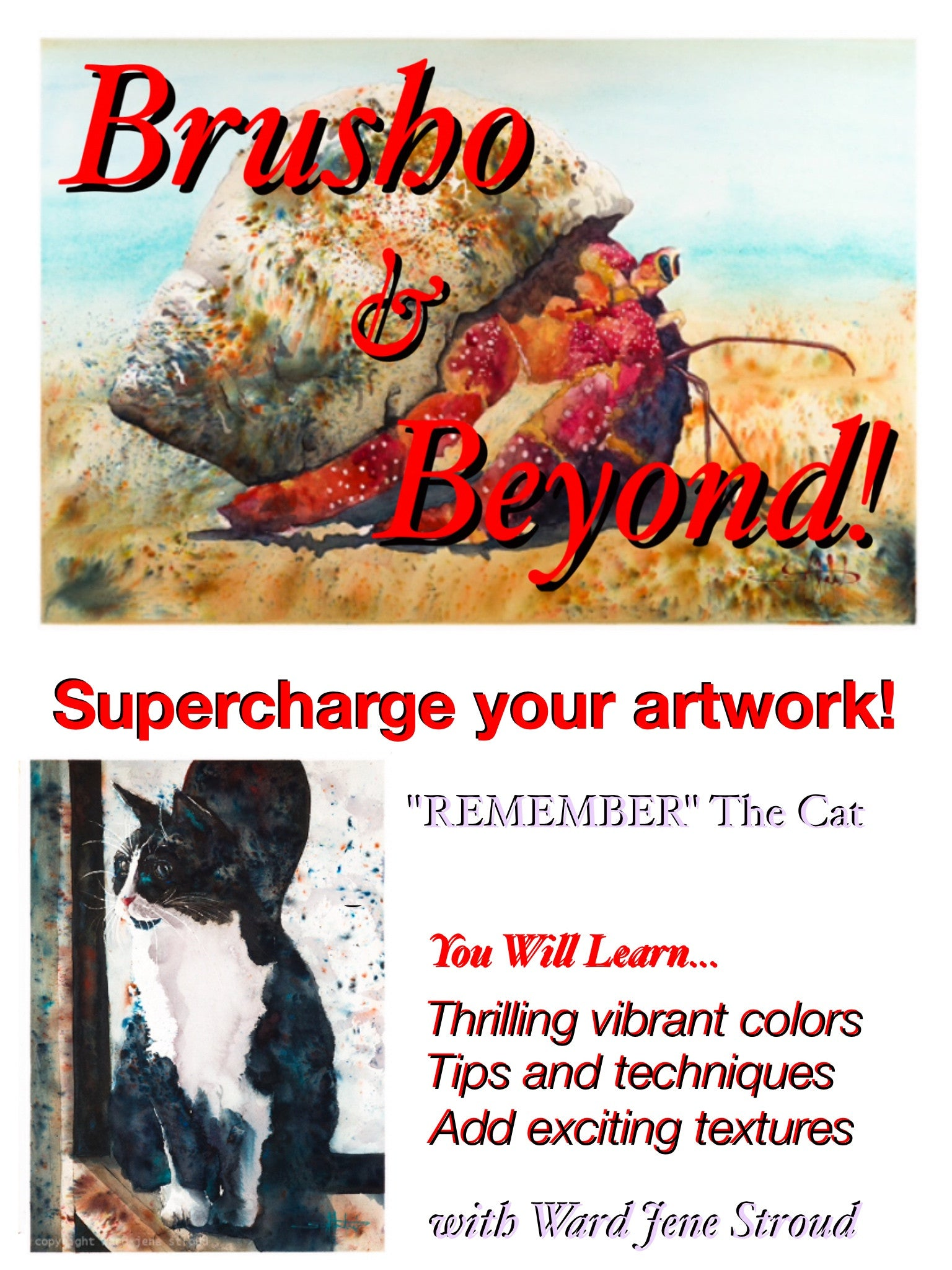 "DVD - Brusho and Beyond -Painting with Ward Jene Stroud ""Remember"" The Black Cat"