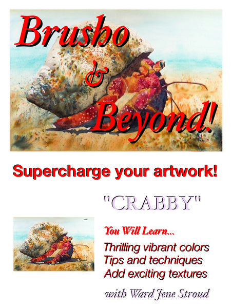 "*Digital Download! * Brusho and Beyond -Painting with Ward Jene Stroud  ""Crabby"" The Hermit Crab"