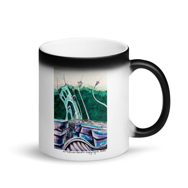 "Spirit of St. John's Bridge *Special Matte Black ""Magic"" Mug"