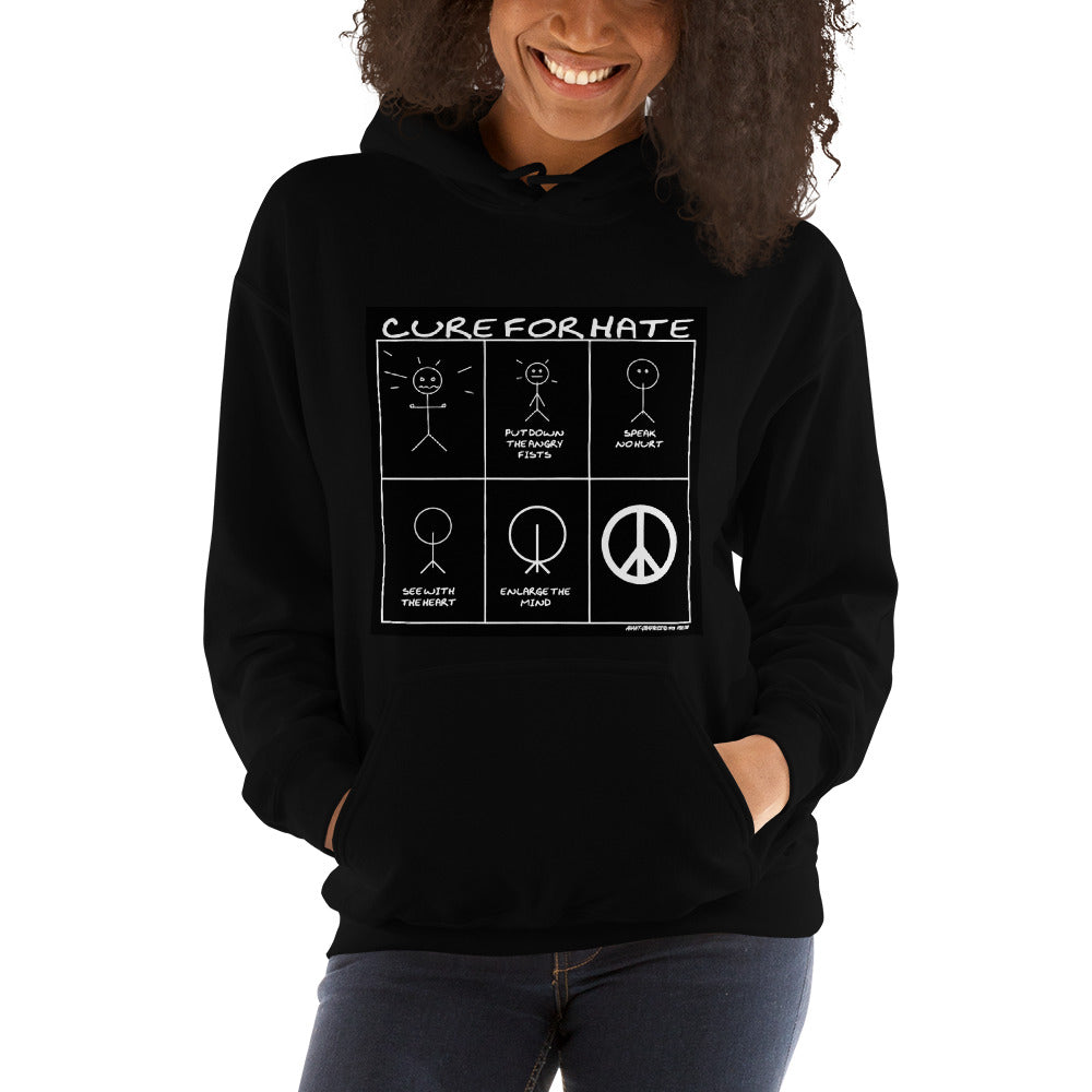 Cure for Hate Hooded Sweatshirt - Black and White edition