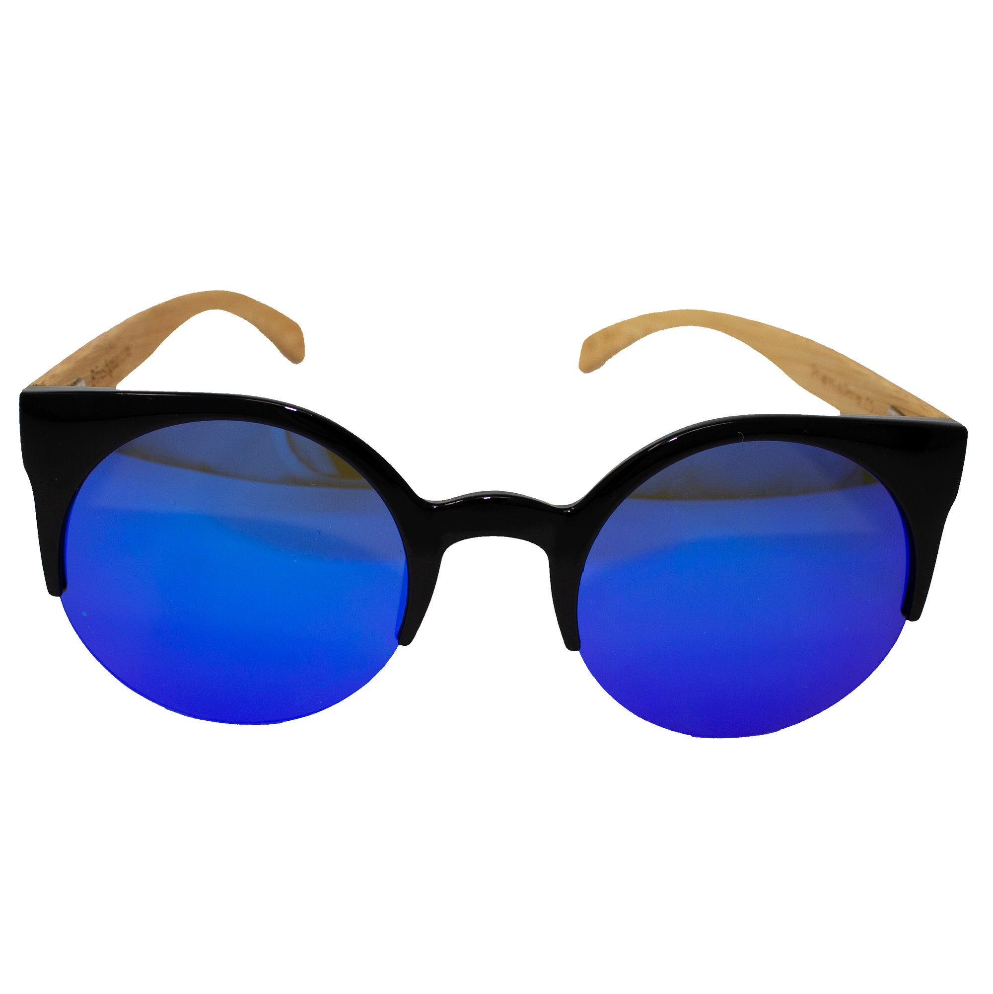Cat Eye Blue - Wooden Sunglasses - B Fresh