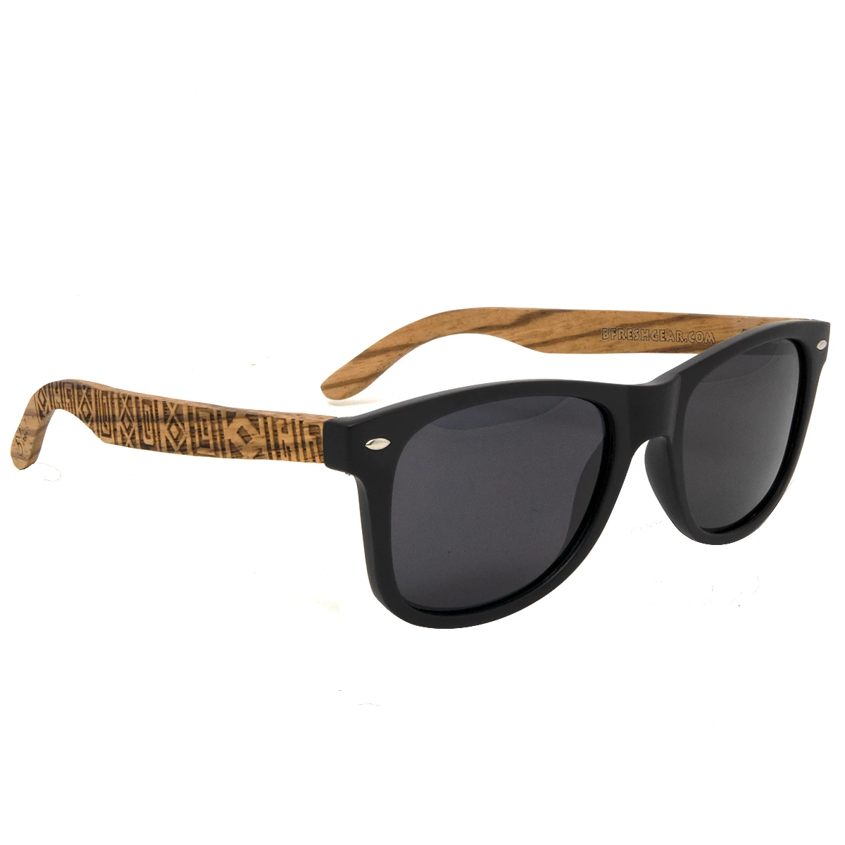 Tiki Engraved - Vintage Wooden Sunglasses - B Fresh