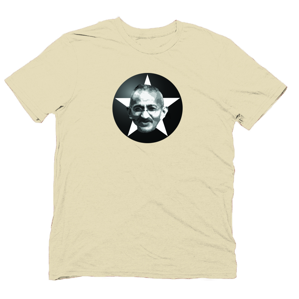 Organic cotton t shirt with gandhi print for Sustainable t shirt printing