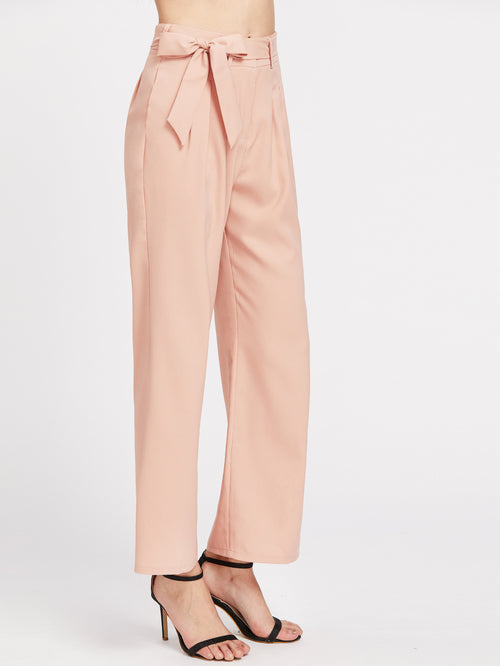 Baby Pink Wide-Leg Pants - Caxato