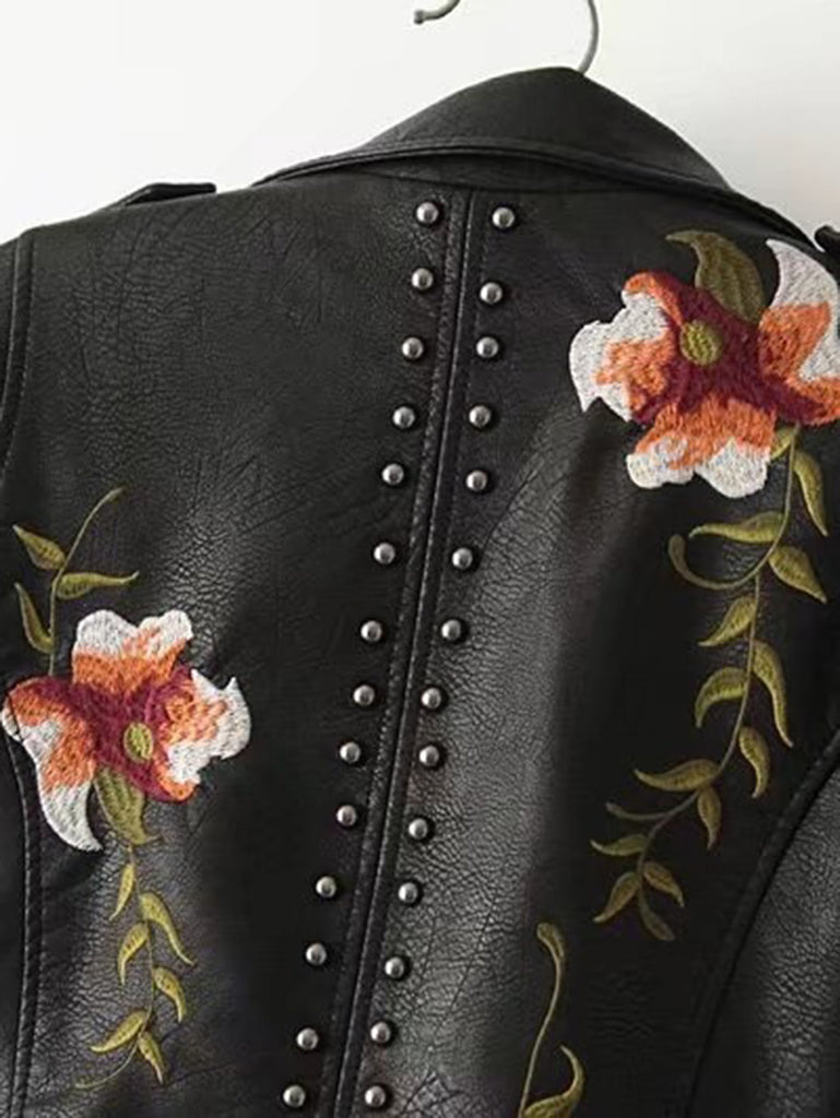 Flower Leatherette Jacket