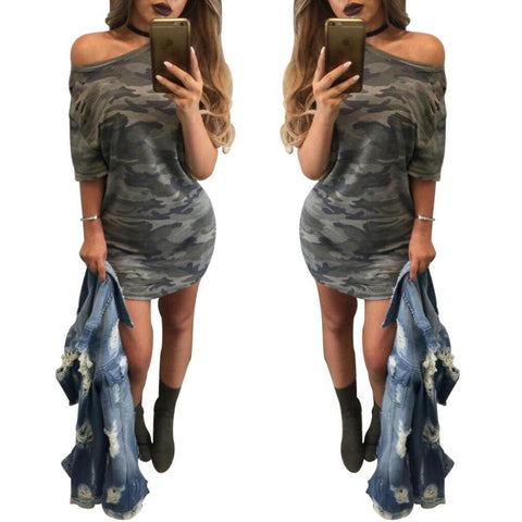 Camouflage Print Dress - Caxato
