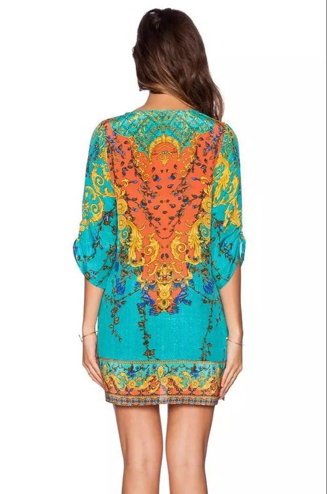 Boho Printed Shift Dress - Caxato