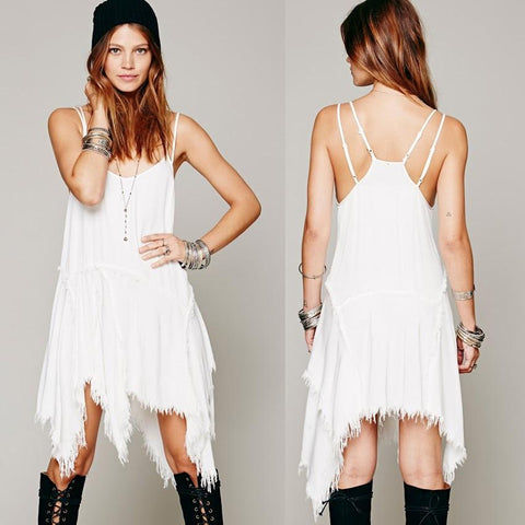 Asymmetrical Hippie Dress - Caxato