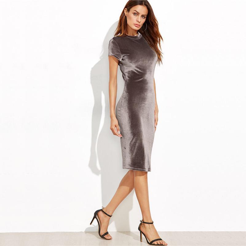 Brown Velvet Sheath Summer Dress - Caxato