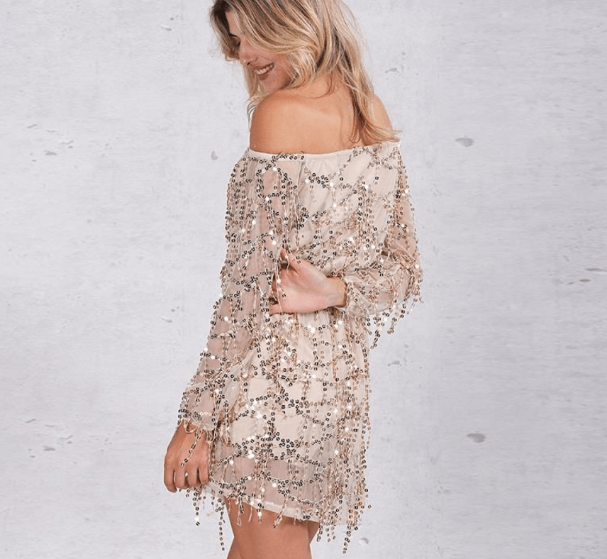 Off Shoulder Tassel Dress - Caxato