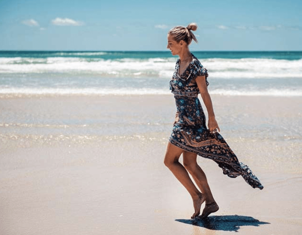 Backless Floral Print Dress - Caxato