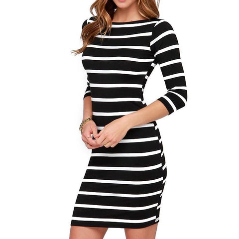 Casual Striped Dress - Caxato