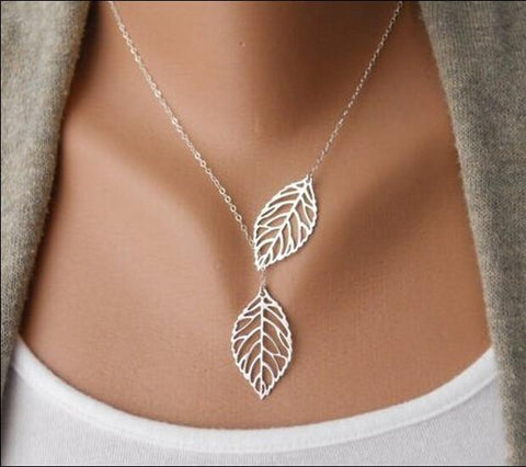 Two Leaves Pendant Clavicle Necklace - Caxato