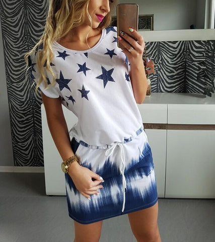 Casual Summer Star Dress - Caxato
