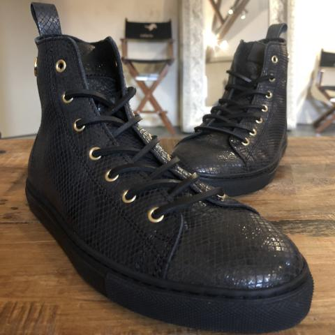 LUXE HI-TOPS <br/>Charcoal faux snake