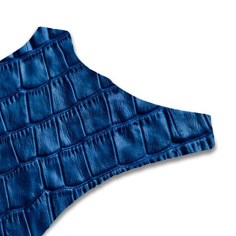 Royal blue faux croc