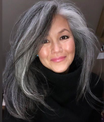 Beautiful ombre salt and pepper gray straight hair