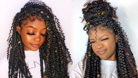 Box braids with kinky curly hair