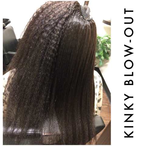 Side by side picture of kinky blown out hair extensions showing one side flat ironed and the other texture hair bundle