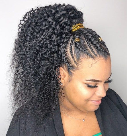 Classic braid ponytail look with curly hair. Great for the office