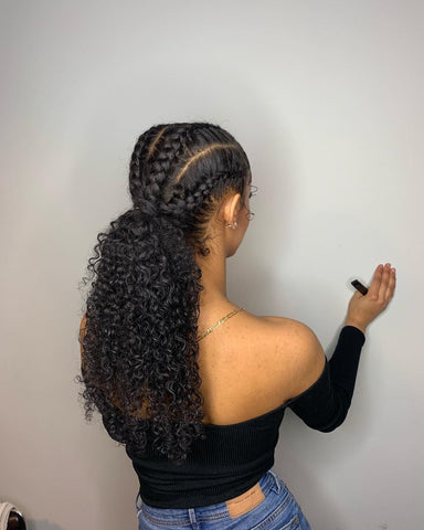Cornrow braided ponytail with curly hair weave