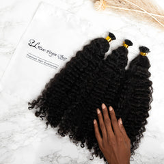 Kinky Curly i tip hair extensions by sl raw virgin hair